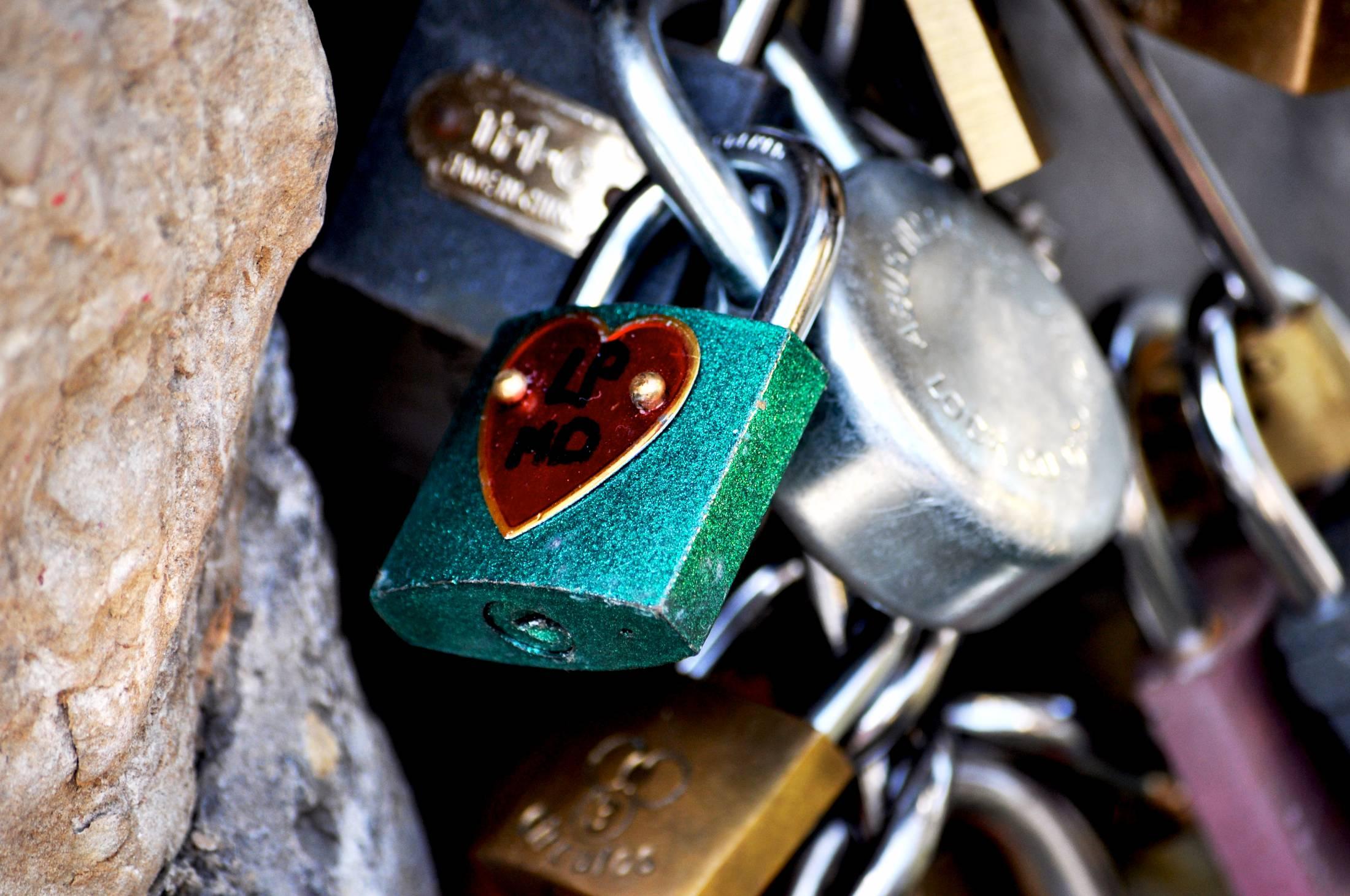 Love padlocks on a bridge in Florence