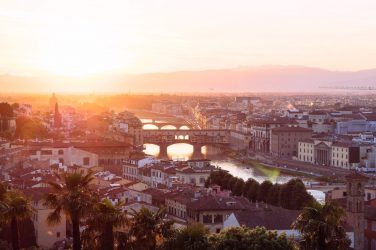 Sunset over Florence cityscape