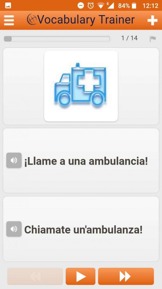 App gratis Aprende palabras en italiano