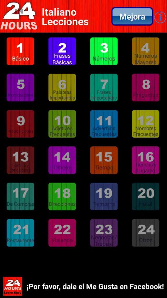 Screenshot dela app En 24 horas aprender italiano