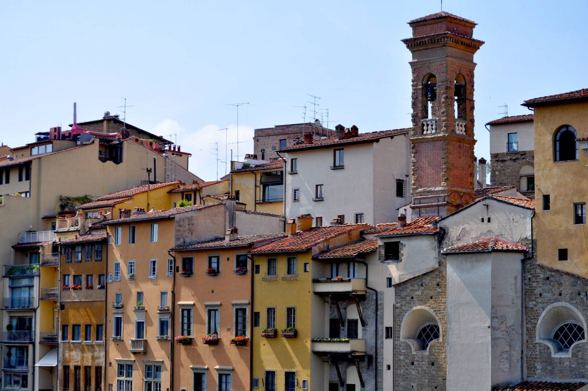 Florence traditional houses in the city center with a bell tower