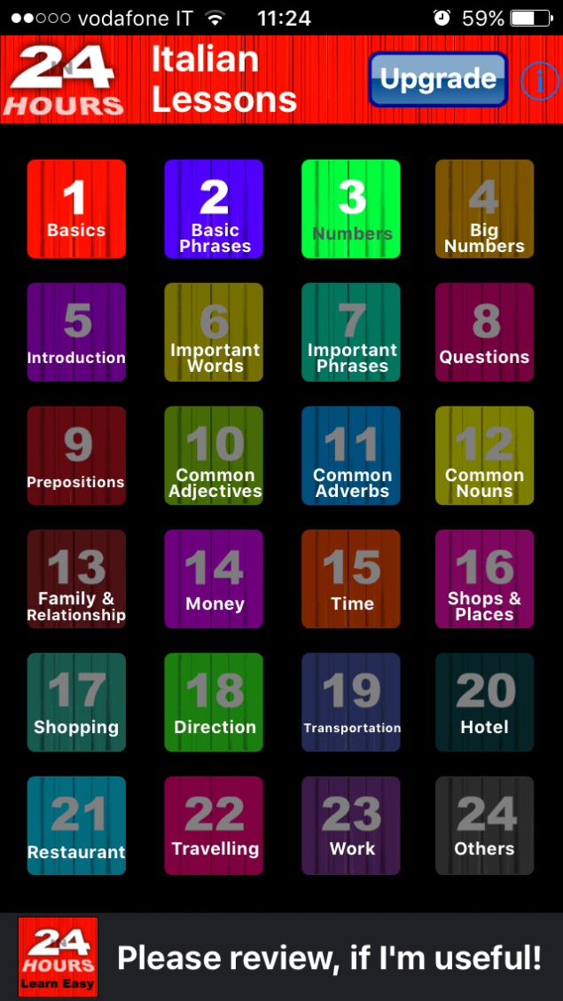 In 24 Hours Learn Italian App Screenshot