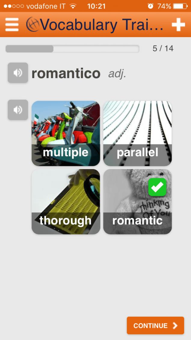 Learn italian words App Screenshot