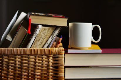 italian books and coffe cup